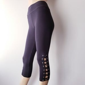 Forever 21 Black Cropped Side Lace Up Leggings